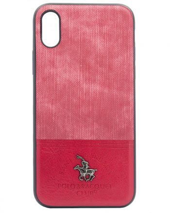iPhone X - Polo Racquet Case Rood Fabric-0