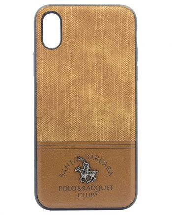 Apple iPhone X Polo Racquet Case Beige Fabric-0