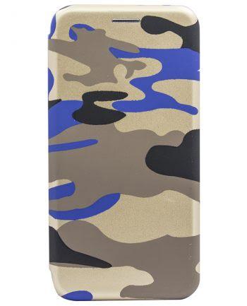 Apple iPhone X Bookcase Army Print Blauw-0