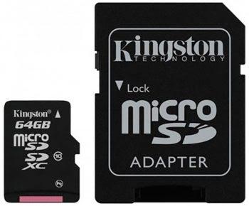 KINGSTON MICROSDHC CARD 64GB 100% ORIGINEEL CLASS 10-0