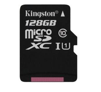 Kingston Micro SD kaart 128 GB + SD Adapter (HD video- 80MB/S/R) origineel-0