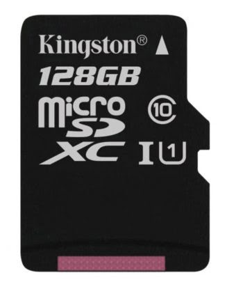 Kingston Micro SD kaart 128 GB + SD Adapter (HD video- 80MB/S/R) origineel-0