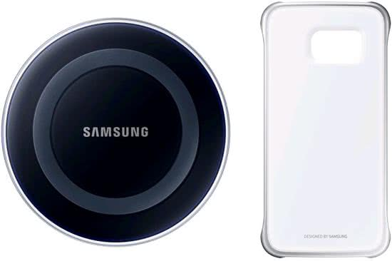 Samsung Galaxy S6 edge Starter Kit - Qi lader + cover - Black / Silver (EP-WG925IBE, EP-WG925IBEGVF)-0