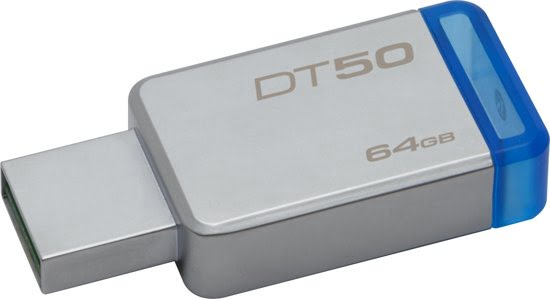Kingston Technology DataTraveler 50 64GB USB 3.0 (3.1 Gen 1) USB-Type-A-aansluiting Blauw, Zilver USB flash drive-0