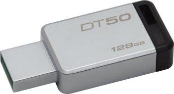 Kingston Technology DataTraveler 50 128GB 3.0 (3.1 Gen 1) USB-Type-A-aansluiting Zwart, Zilver USB flash drive-0