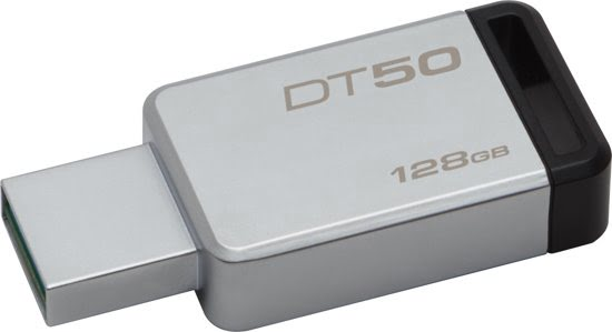 Kingston Technology DataTraveler 50 128GB 3.0 (3.1 Gen 1) USB-Type-A-aansluiting Zwart, Zilver USB flash drive-0