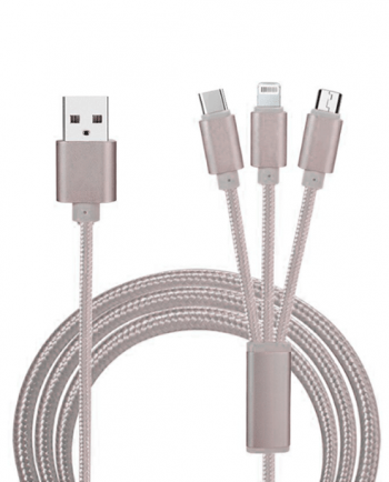 3 in 1 universal data kabel QUICK CHARGE & DATA grijs-0