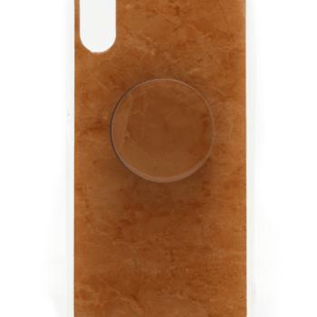 Iphone X HOESJE bruin marmer print-0
