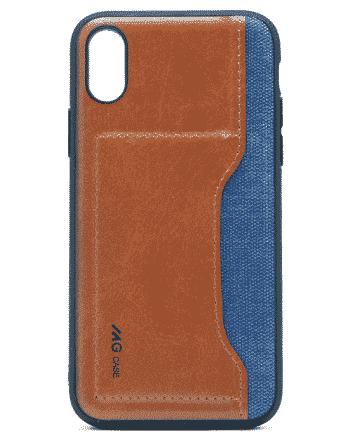 apple iphone XS leer en kunststof blauw-0