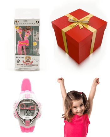 Meisjes pakket: horloge met oordopjes-0