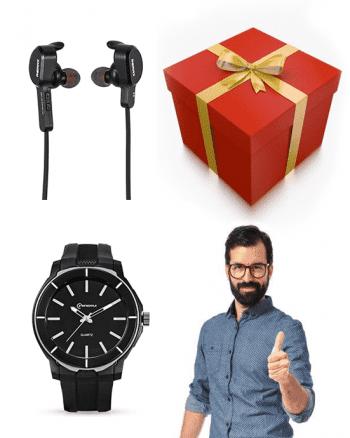 Heren pakket: bluetooth headset met smartwatch-0