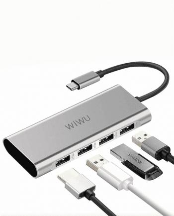 Apollo A440 4-in-1 (4x USB 3.0 / Data / Charging) Aluminium Case Type-C Hub Convertor-0