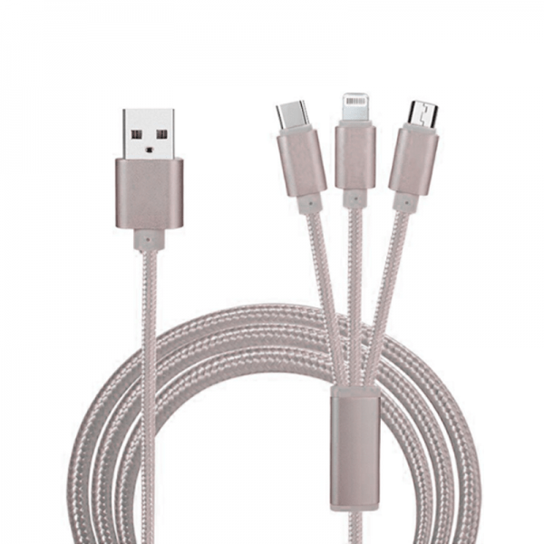 3 in 1 universal data kabel Quick Charge & Data Grijs