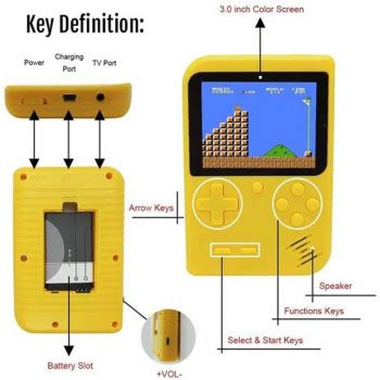 8 BIT Classic Mini Game Console Geel Voor jong en oud