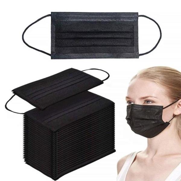 3 laags wegwerp mondkapjes - 50 stuks - Zwart